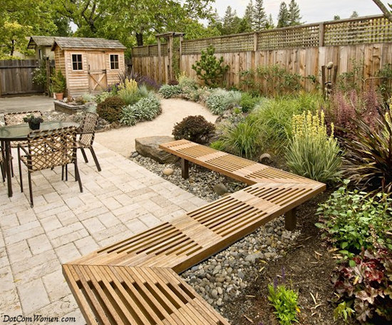 Beautiful backyards for all seasons dot com women for Small deck seating ideas