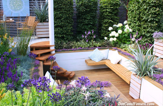 built-in garden furniture nook