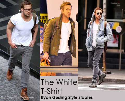 Ryan Gosling pairs the Classic White T-shirt with Gray Pants