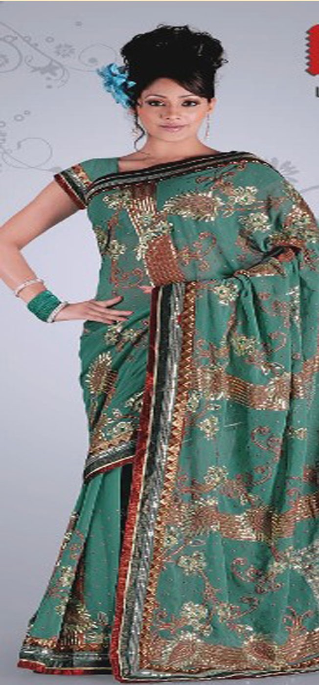 Sea Green Saree with Blouse Fabric