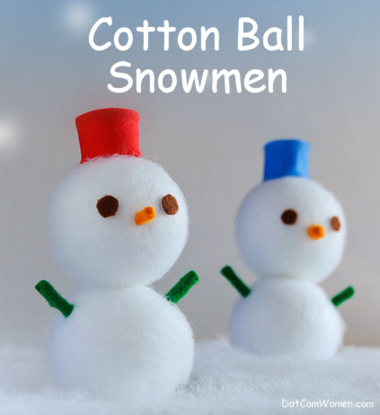 Cotton Ball Snowmen Christmas Craft