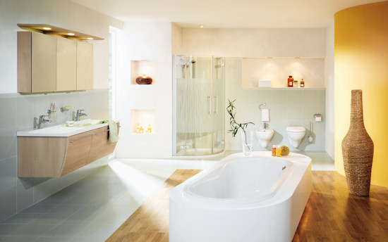 white and yellow brightly lit bathroom