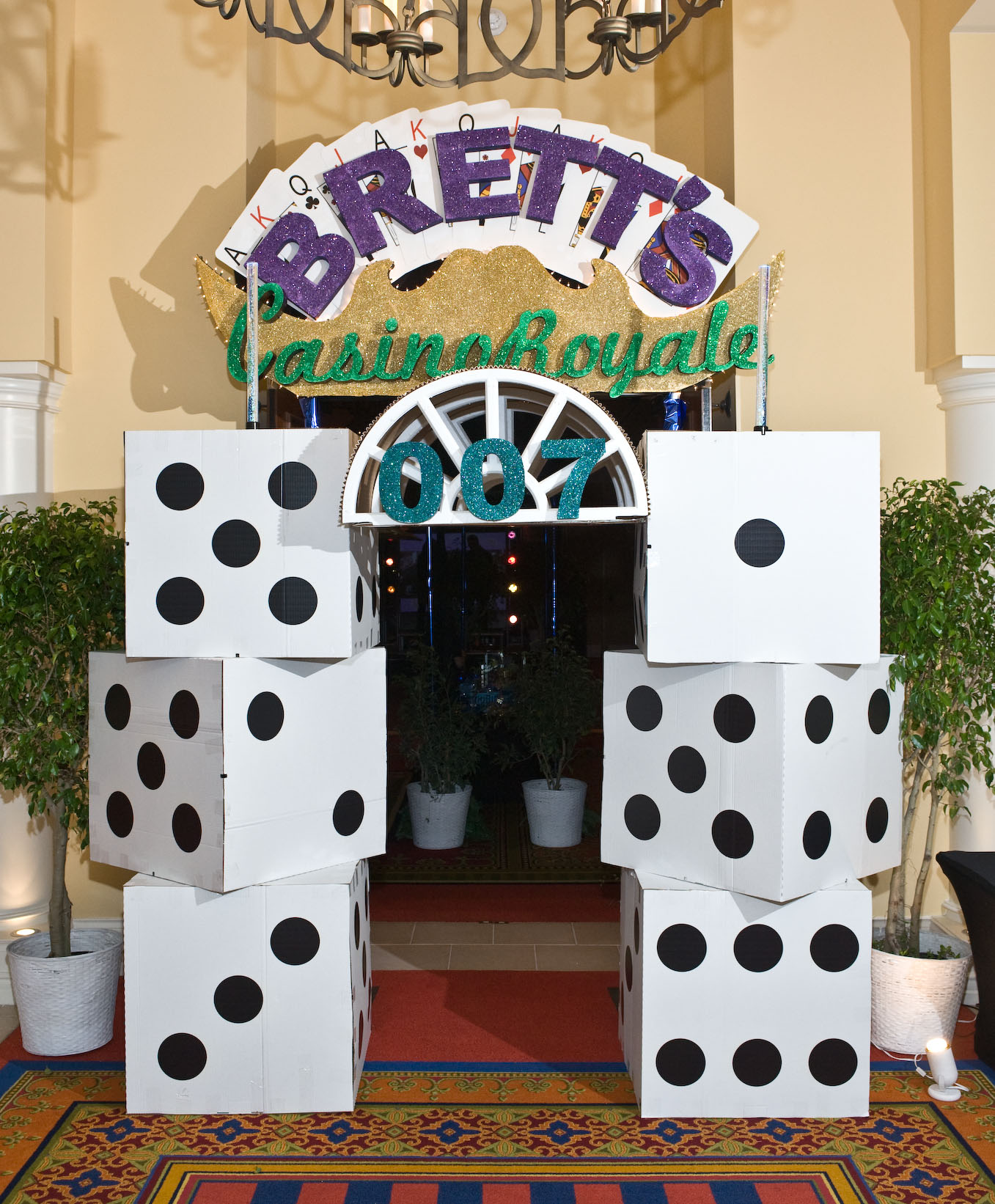 cardboard dice casino party entrance decor & Host a Casino Royale Party at Home - Dot Com Women