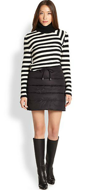Outfit Inspiration - puffer skirt with turtle neck, striped pullover and knee-high boots