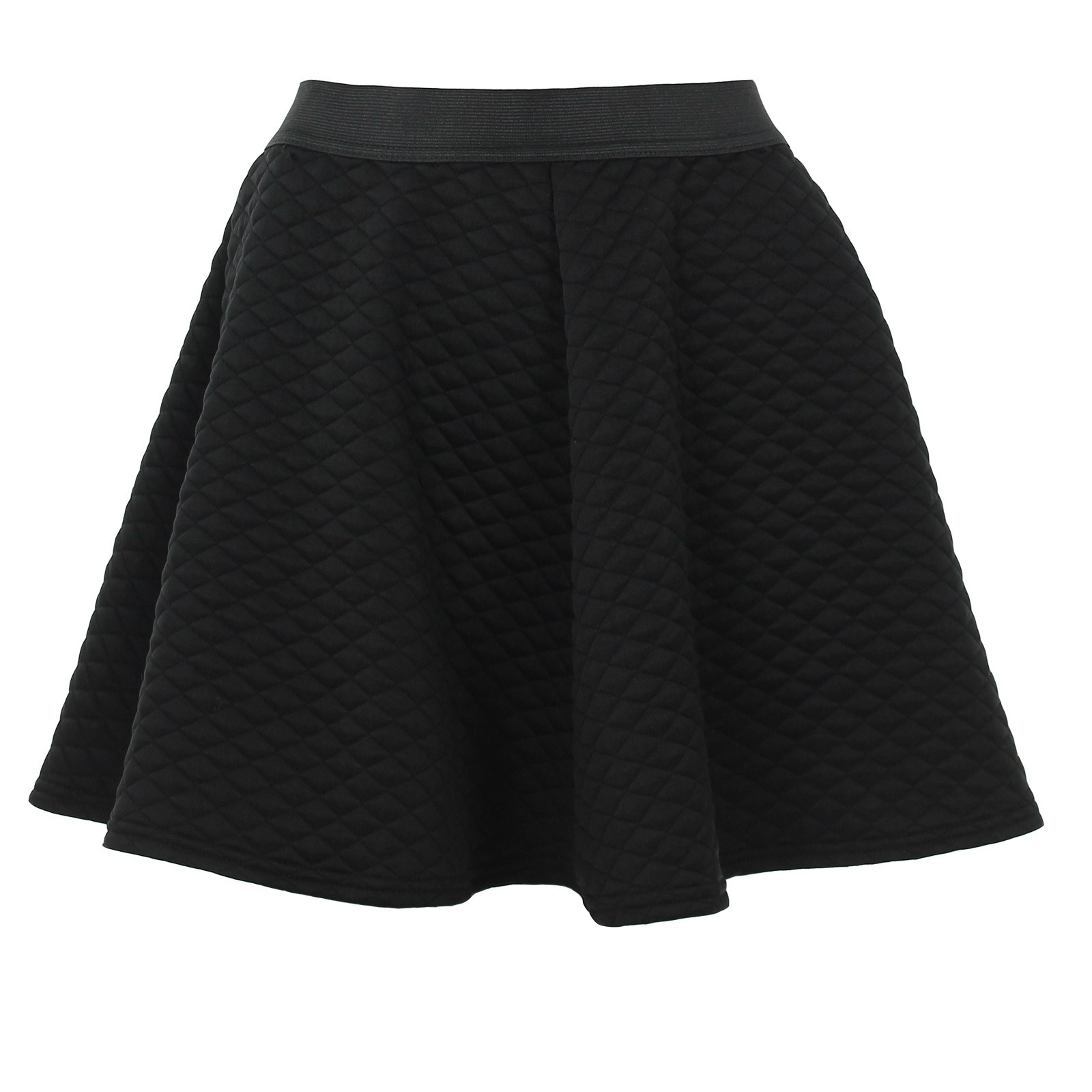 quilted black skater skirt