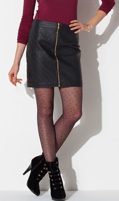 Outfit Inspiration - Quilted front zip skirt, burgundy top, booties and sheer stockings