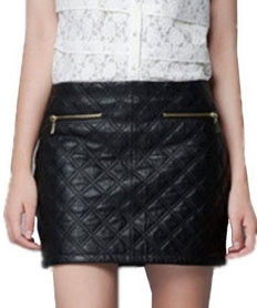 Side zipper quilted skirt