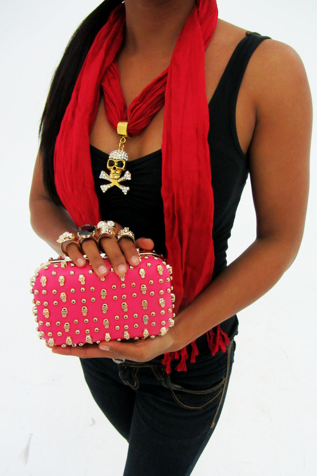 Hot Pink skull clutch, skull rings and pendant scarf
