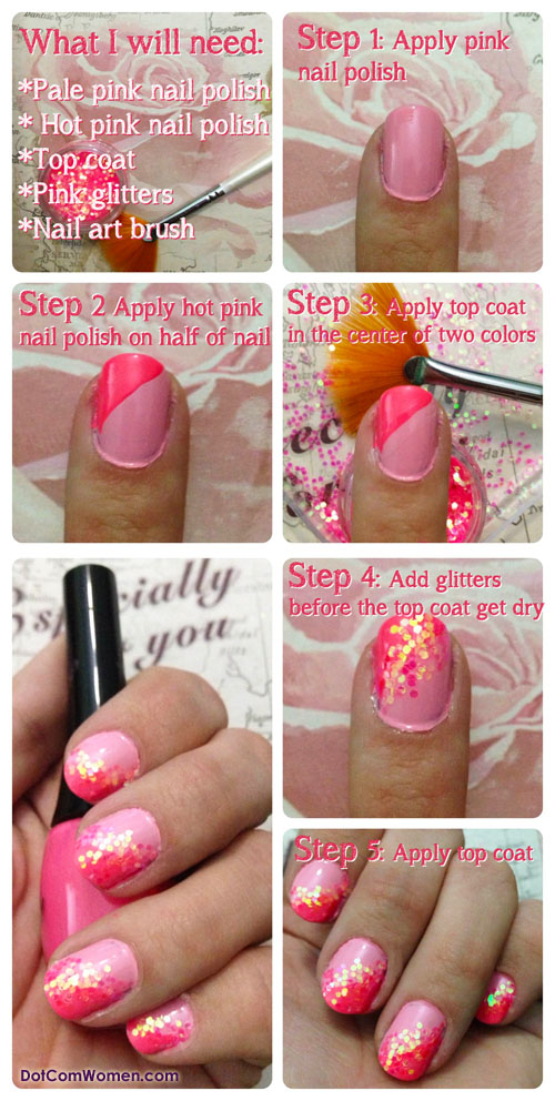 Glittery Pink Nail Art Tutorial - Dot Com Women
