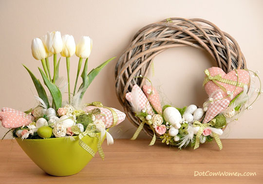 Wicker Wreaths Can Make Stunning Easter Mantel Decor When Decorated With Homestyle Stuffed And Sewn Ornaments