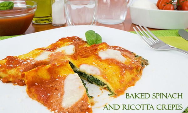 Baked Spinach and Ricotta Crepes