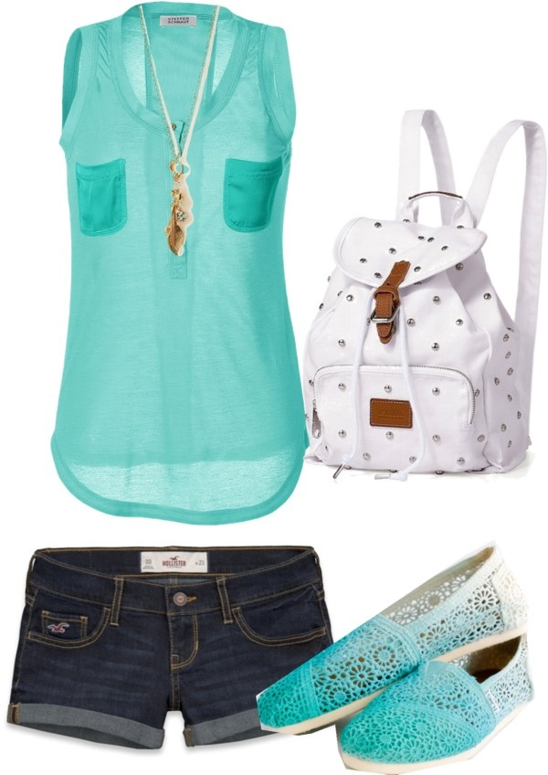Aqua Summer Outfit with denim shorts, white backpack and ombre shoes