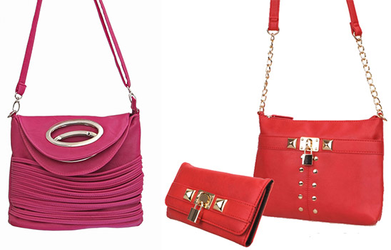 Fashionable 'Rose' messenger bag and an M-Style bag and wallet set in red.