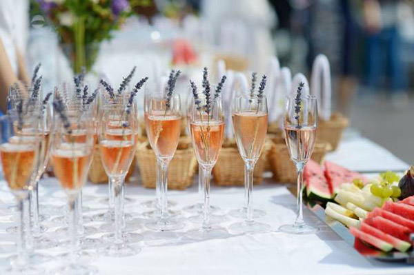 lavender wedding champagne