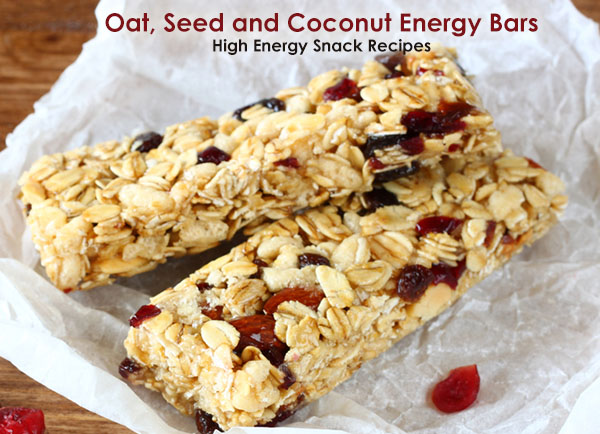 Oats seed coconut energy bars - High energy snack recipes