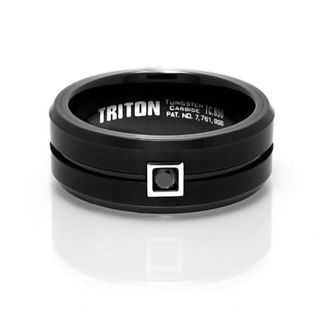 Sleek, Black Tungsten Carbide Ring by Triton