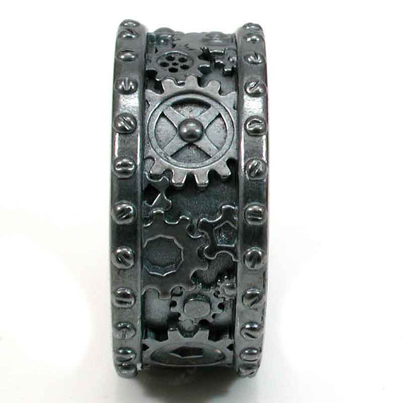 Steampunk Gear Ring - Unique Men's Wedding Rings