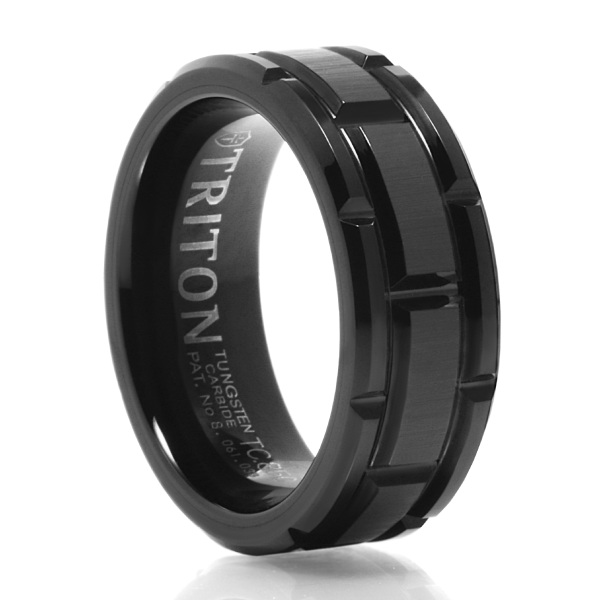 BLACK TUNGSTEN BLOCK PATTERN WEDDING BAND