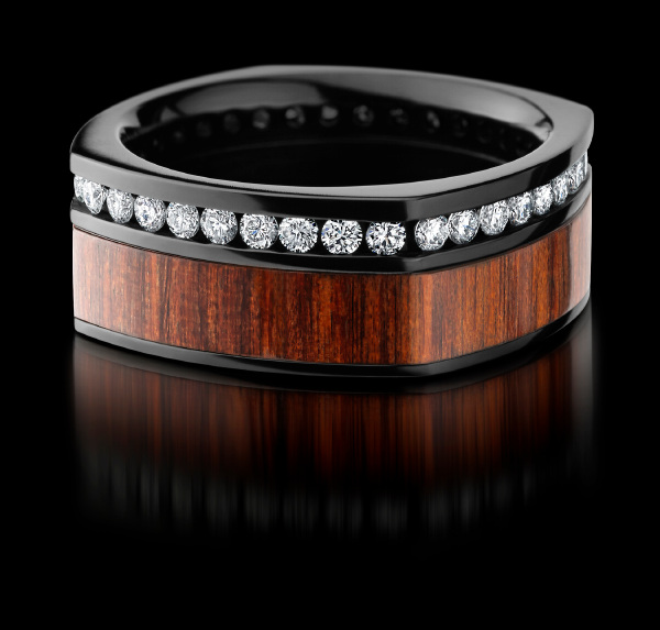 BLACK ZIRCONIUM COCOBOLO DIAMOND RING