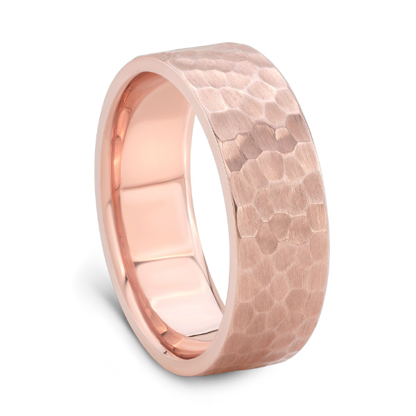 HAMMER FINISH ROSE GOLD BAND