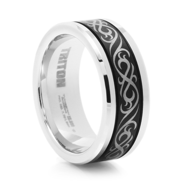 TRIBAL BLACK & WHITE TUNGSTEN WEDDING BAND