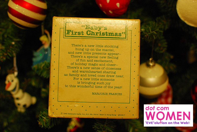 Baby's First Christmas - Poem by Marjorie Frances - on the back of Vintage Hallmark Ornament