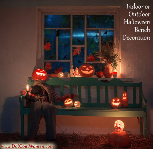 Halloween Bench Decoration with Pumpkin Heads