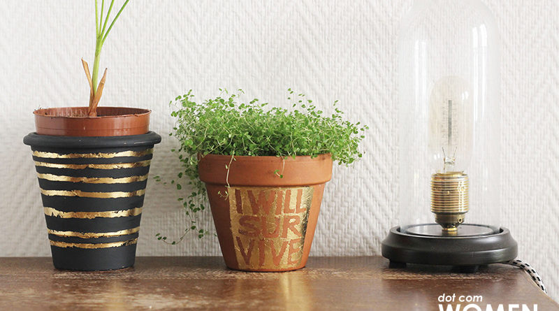 Quick & Easy - DIY Gold Leaf Lettering Planters