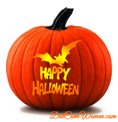 Bat And Happy Halloween Pumpkin Carving Stencil Dot Com Women