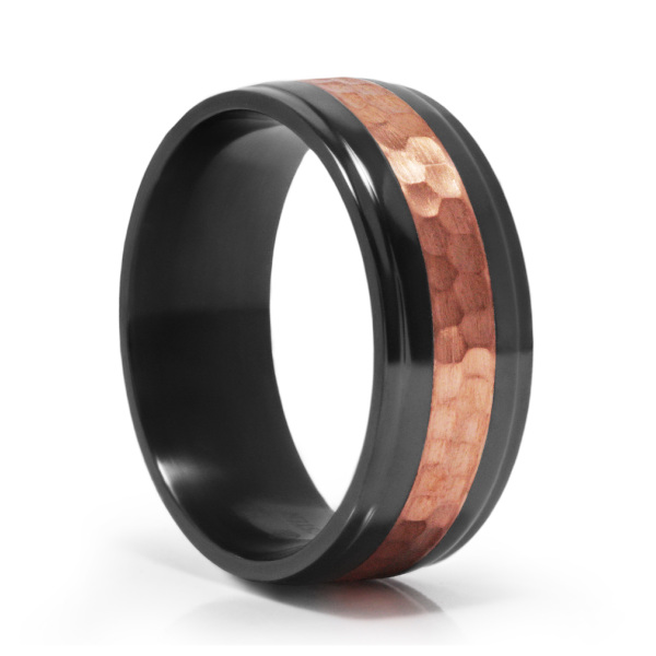 Clic Comfort Fit Tungsten Ring Black Zirconium Hammer Copper